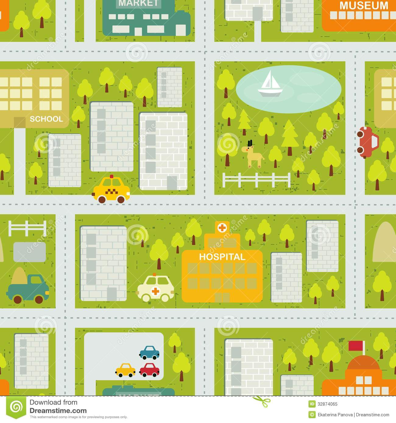 Modern Interior Design Blogs Cartoon Map Seamless Pattern Of Summer City Royalty Free