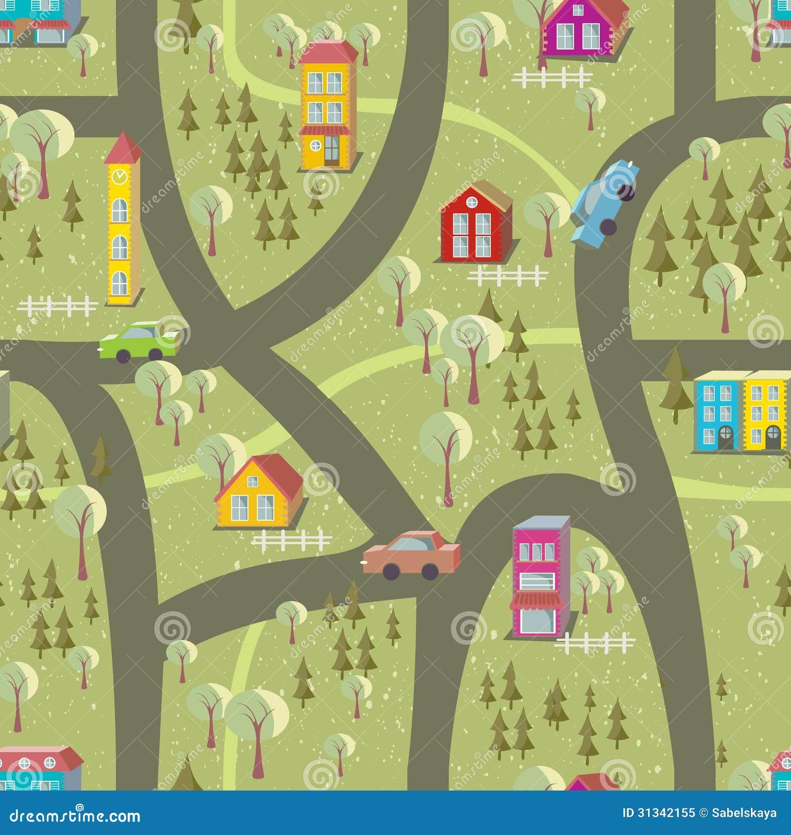 Cartoon Map Seamless Pattern 2 Royalty Free Stock Photo