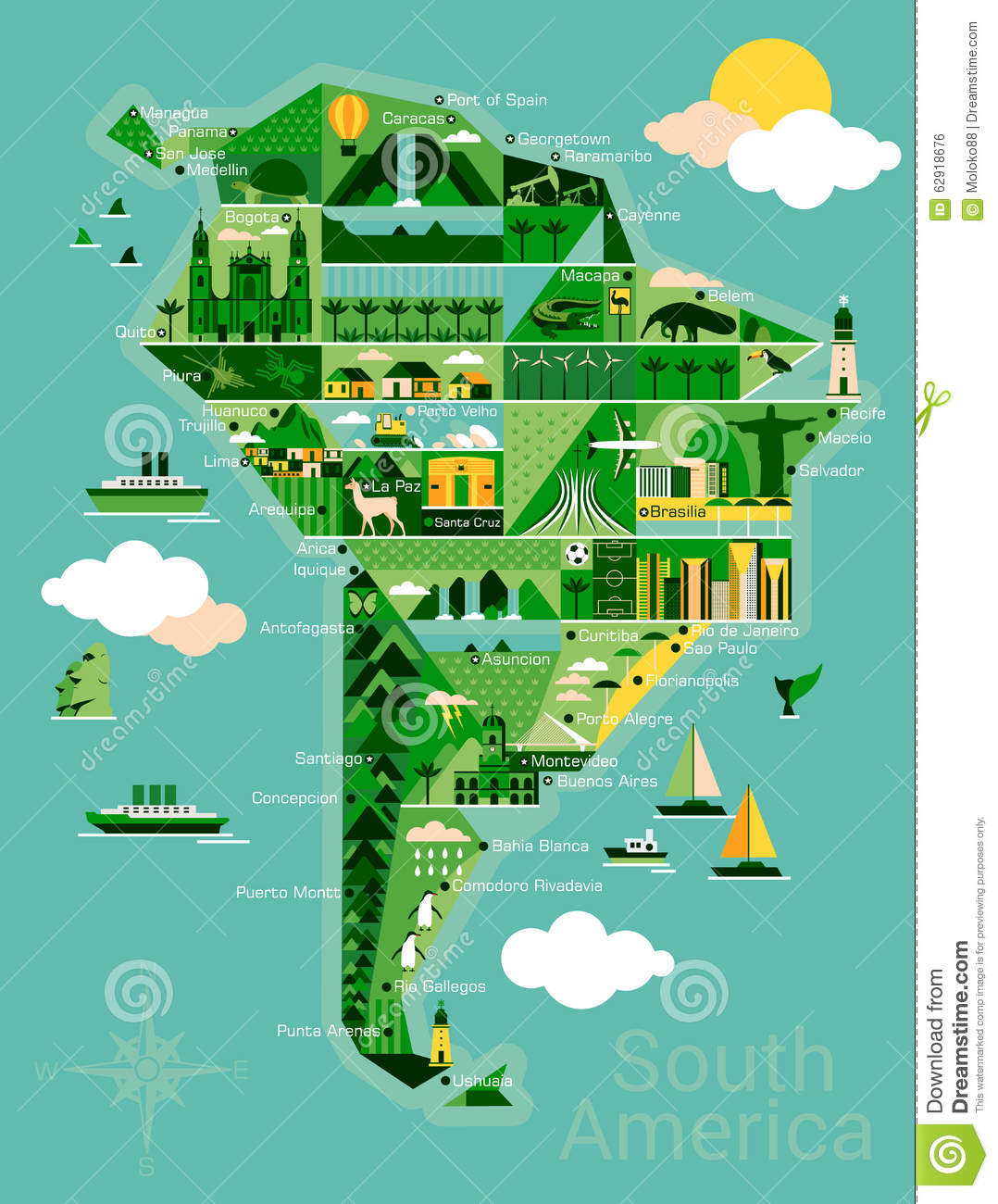 Cartoon Map Of South America Stock Vector Image - South america map