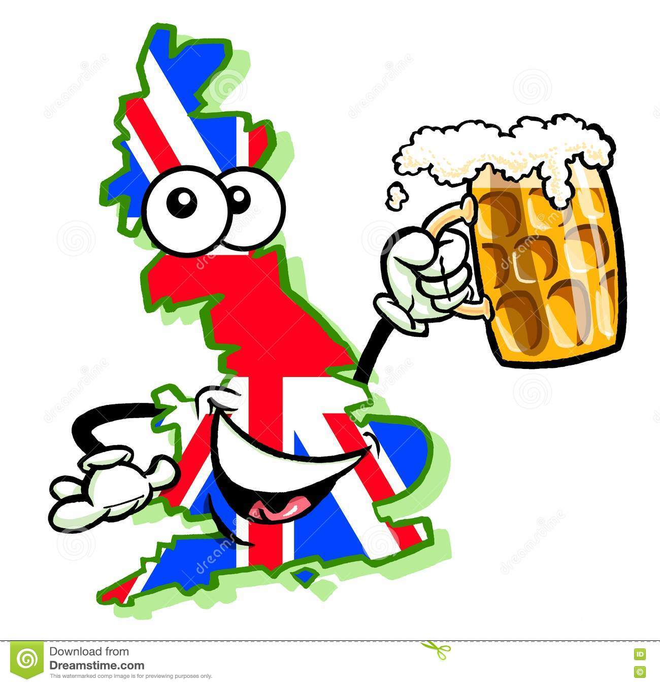 Cartoon Map Of United Kingdom With Beer Stock Photo Image Of