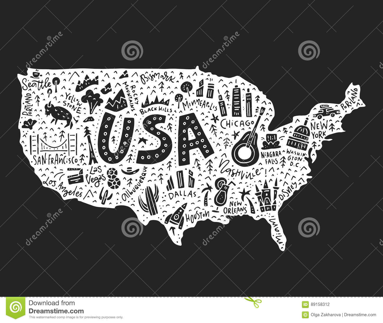 The Cartoon Map Of USA Stock Vector Image - A a large map of the usa