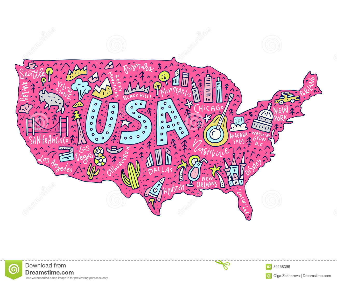 Royalty Free Vector Download Cartoon Map Of Usa