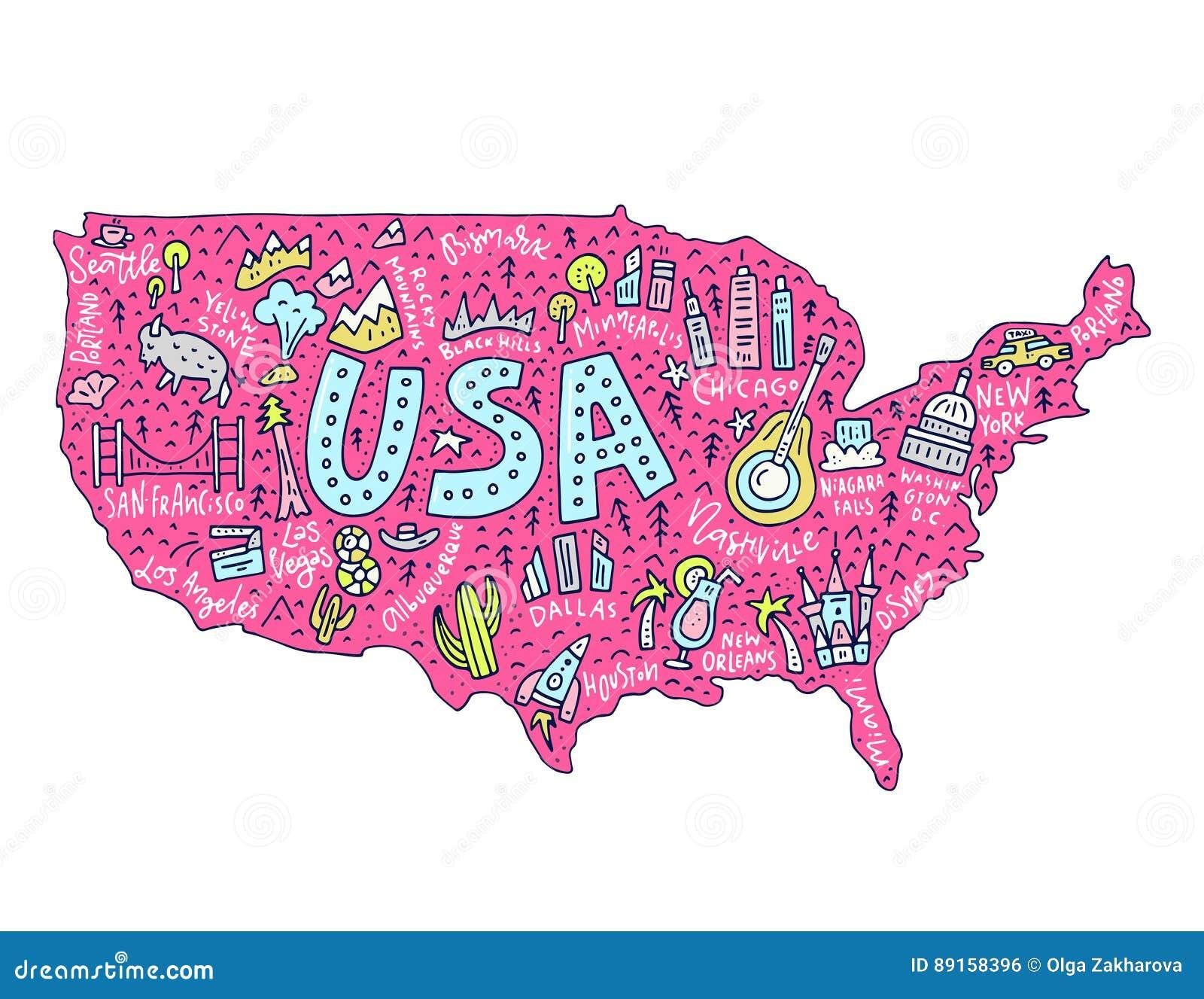 Cartoon Map Of USA Stock Vector Image - Cartoon us map