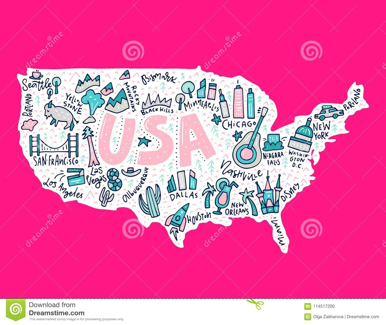 Cartoon Map of USA stock vector. Illustration of earth ...