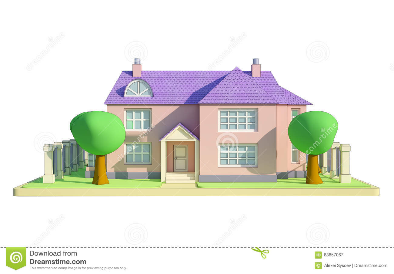 Cartoon House With Trees And Fence Front View 3d Illustration