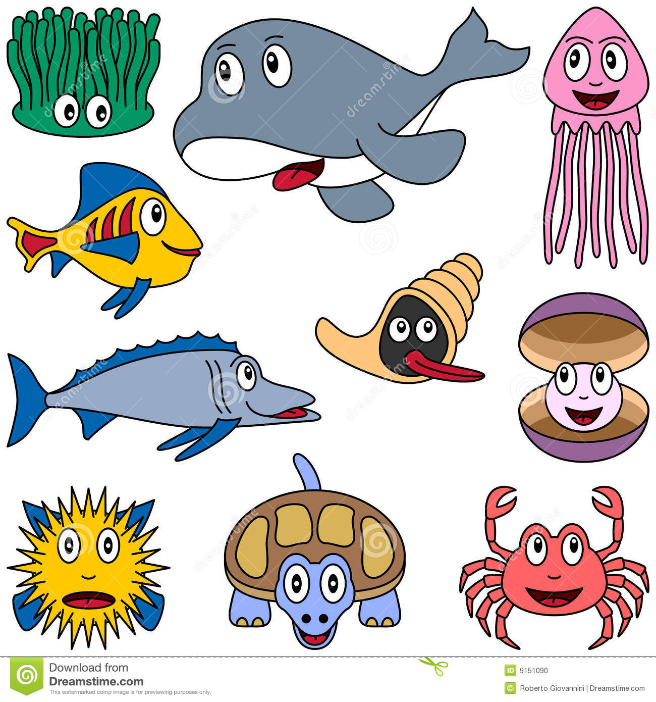 cartoon marine animals set 2 stock photo image 9151090
