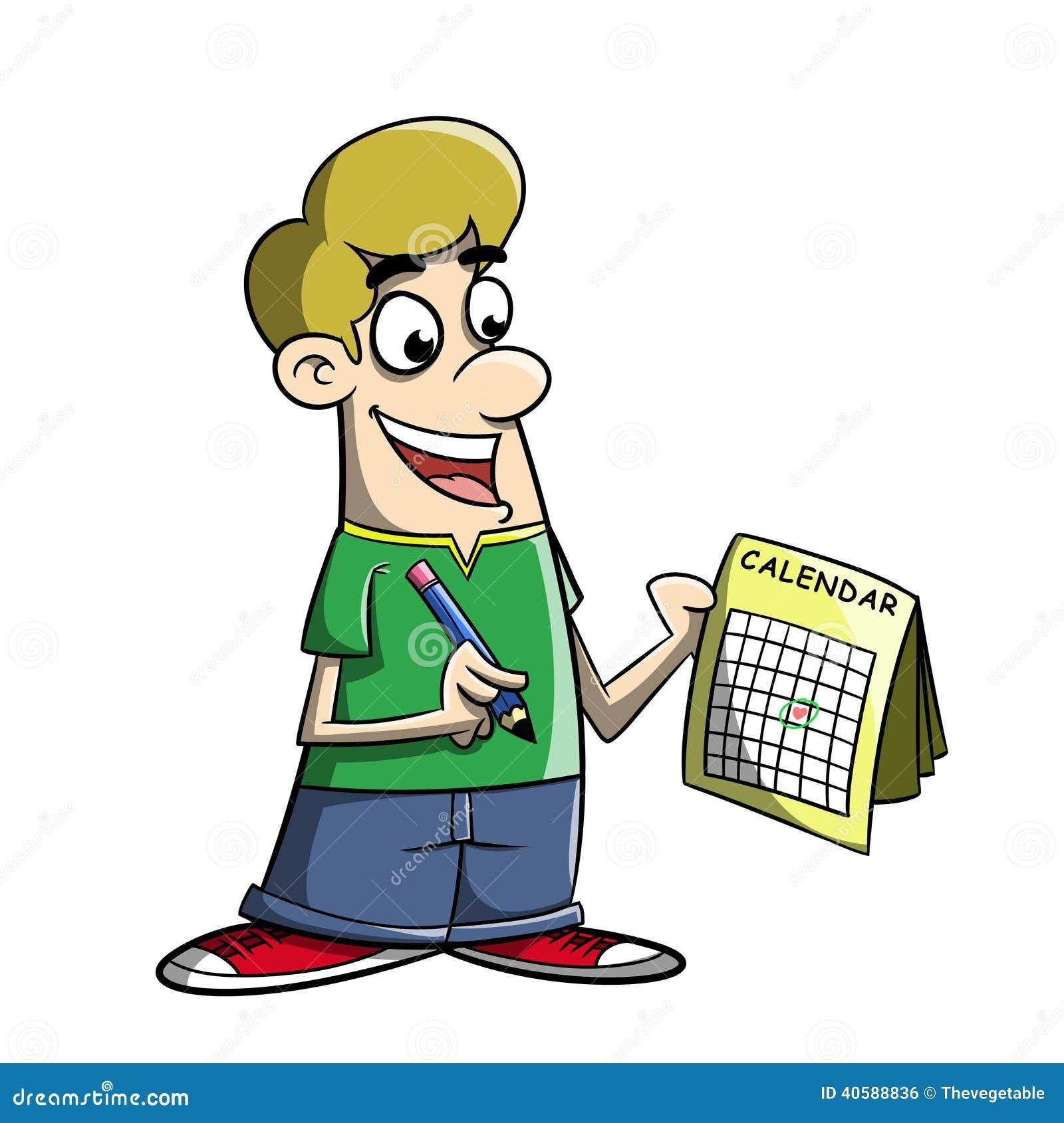 Cartoon Marking Day On A Calendar Stock Illustration