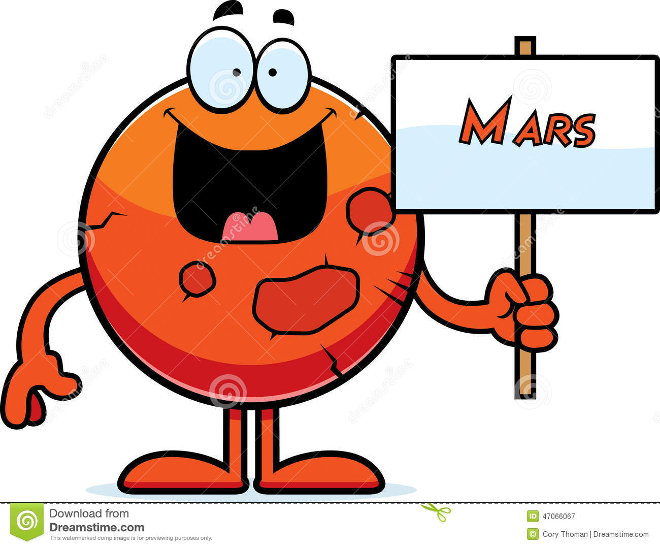 cartoon illustration of the planet Mars holding a sign.