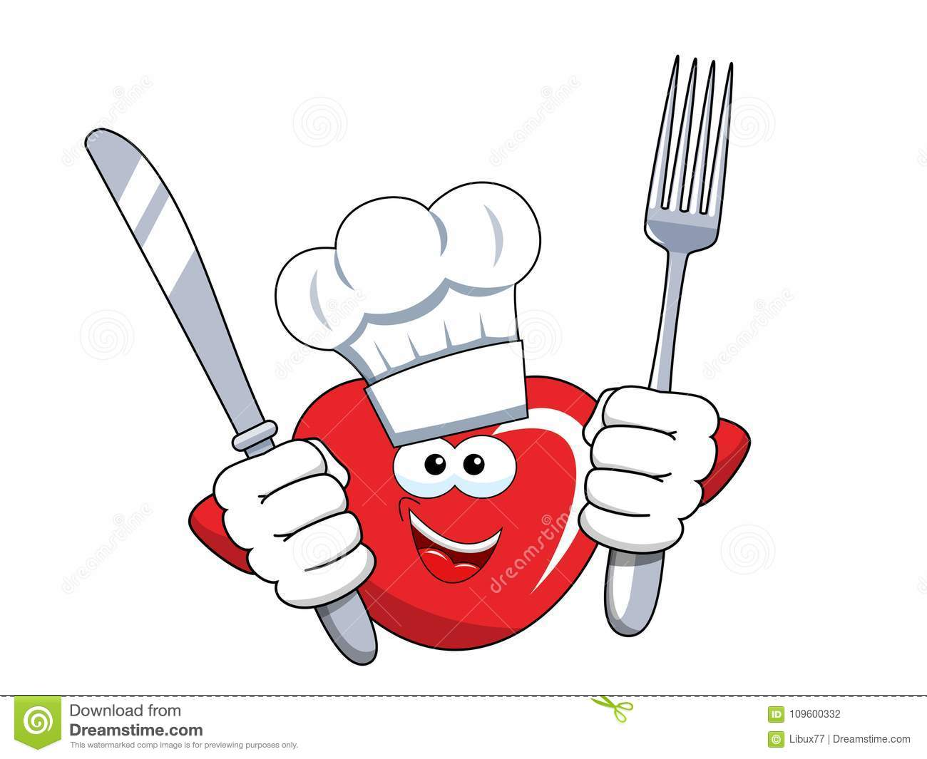 Cartoon mascot heart cook fork and knife isolated