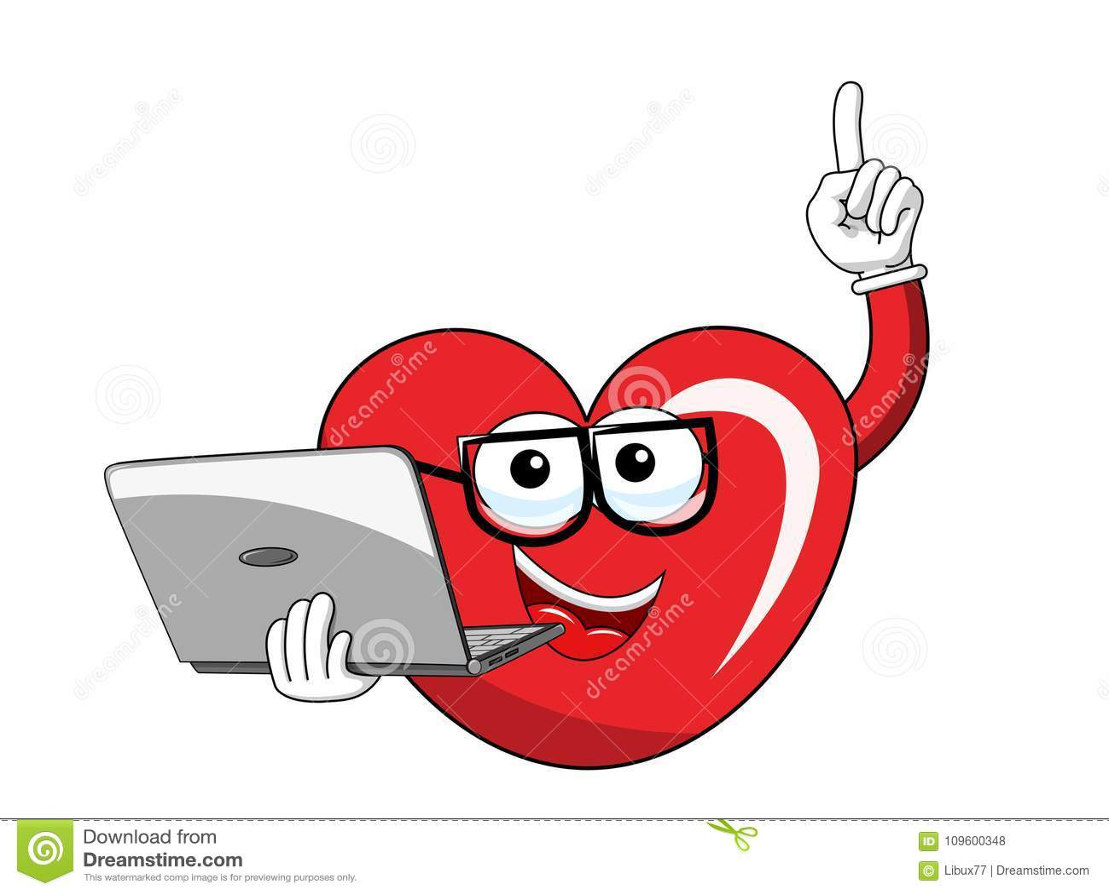 Cartoon mascot heart glasses computer laptop isolated