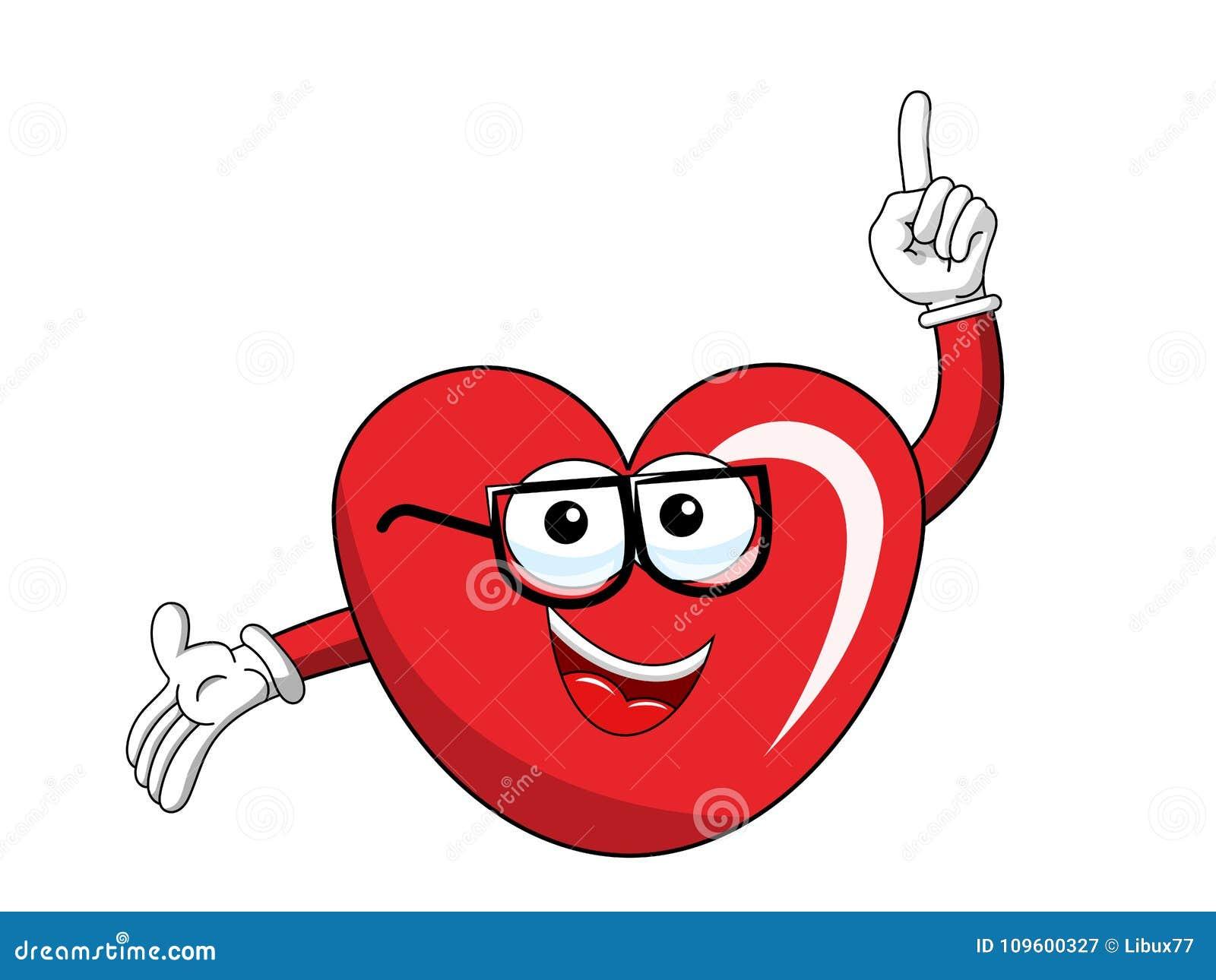 Cartoon mascot heart glasses finger up isolated