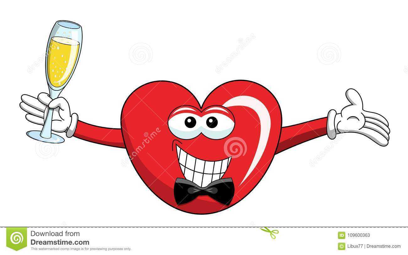 Cartoon mascot heart smart glass of champagne isolated