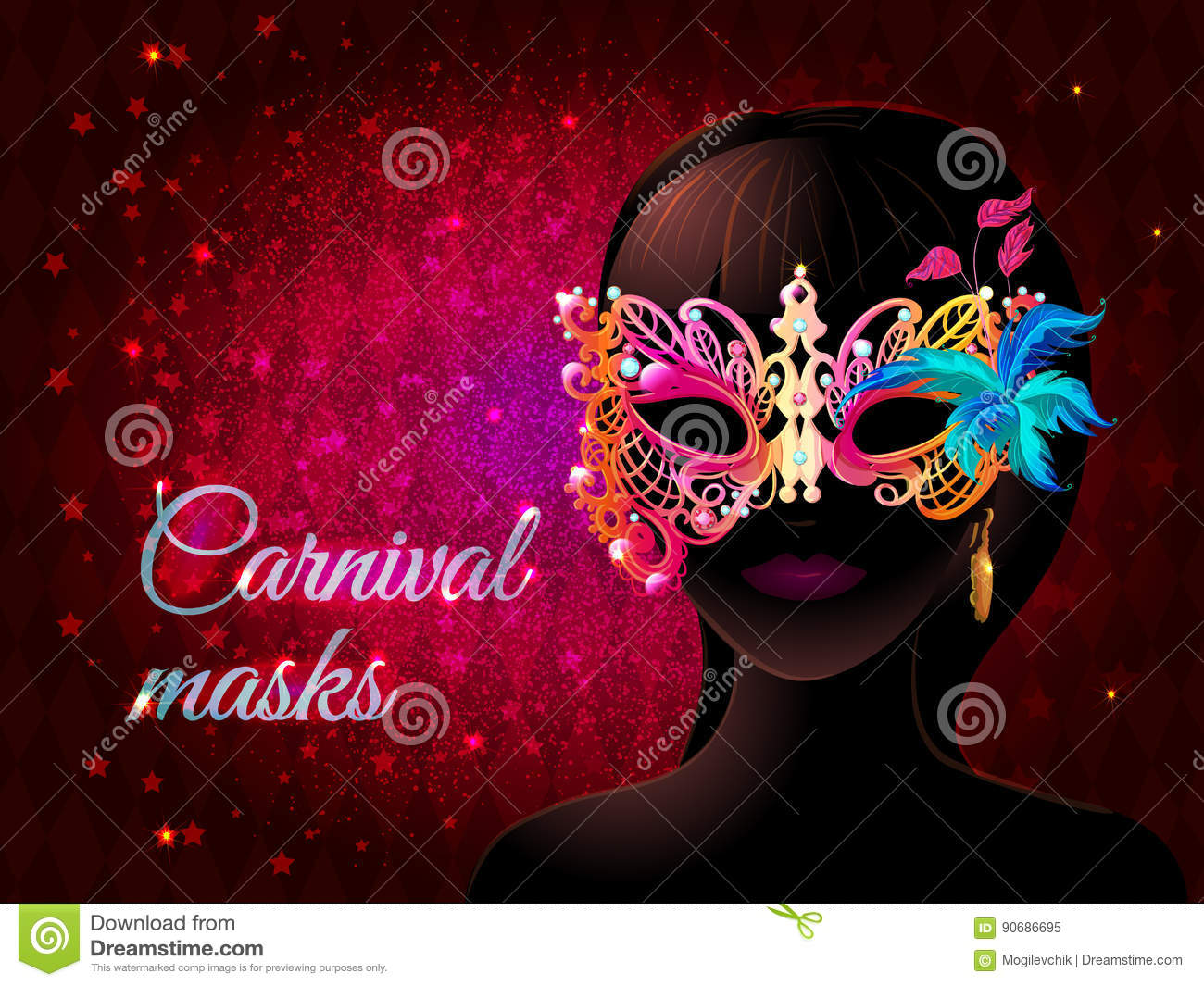 cartoon masquerade party template stock vector illustration of