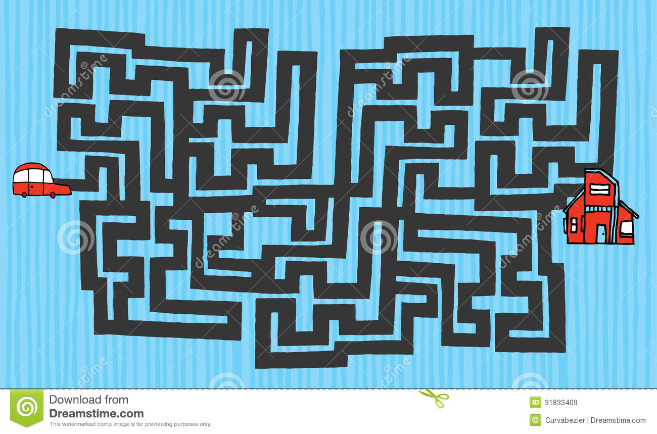 Cartoon maze from car to house stock illustration for Find a house online