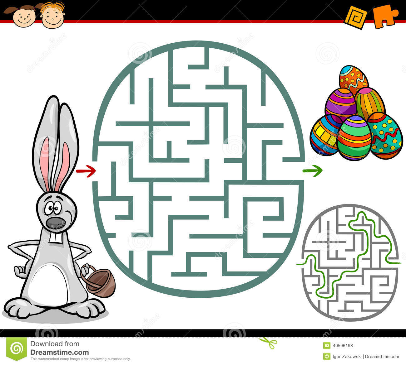 ... Maze or Labyrinth Game for Preschool Children with Easter Themes