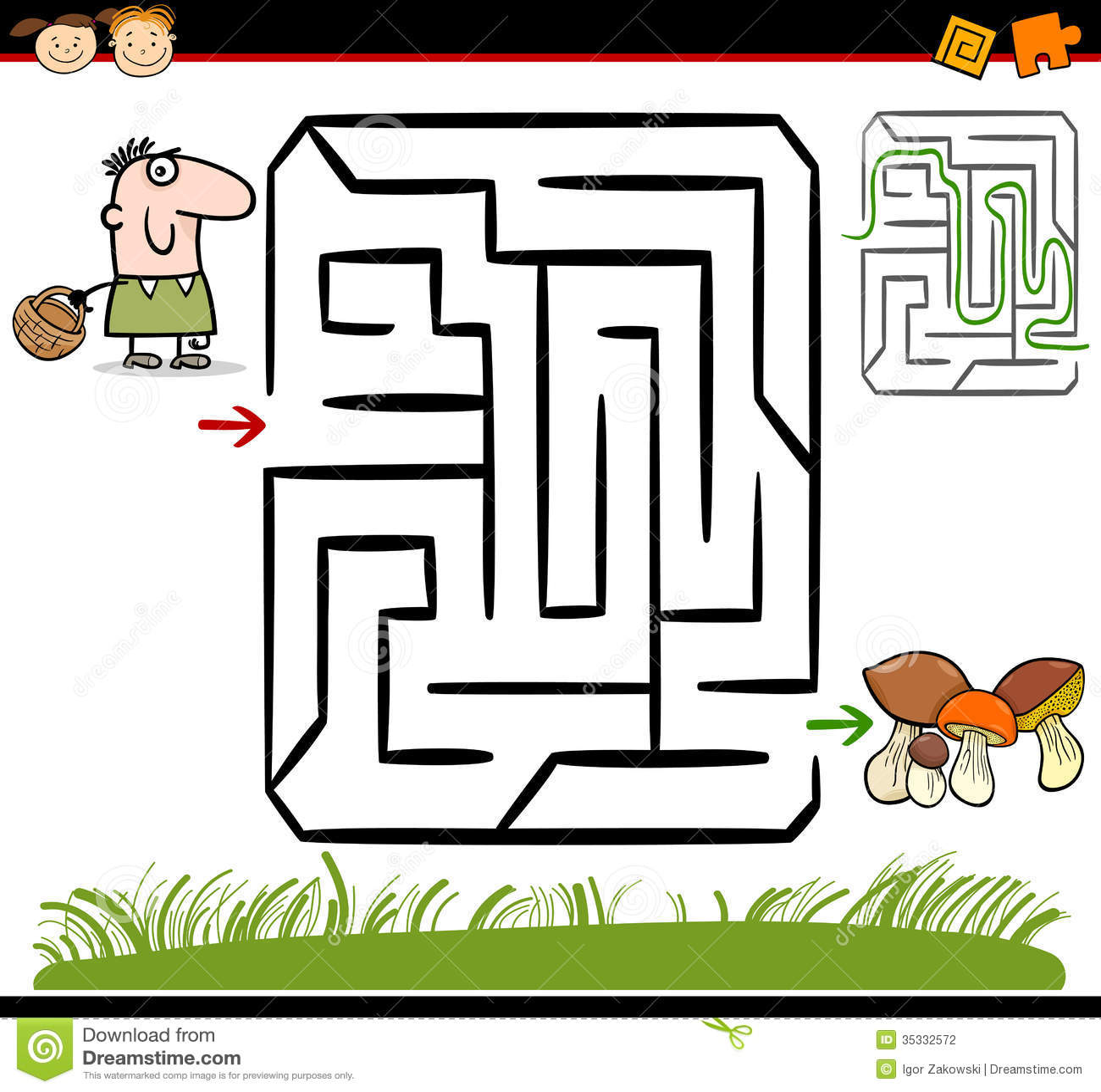 Stock Photography Cartoon Maze Labyrinth Game Illustration Education Preschool Children Funny Man Basket Mushrooms Image35332572 on Ant Preschool Worksheets