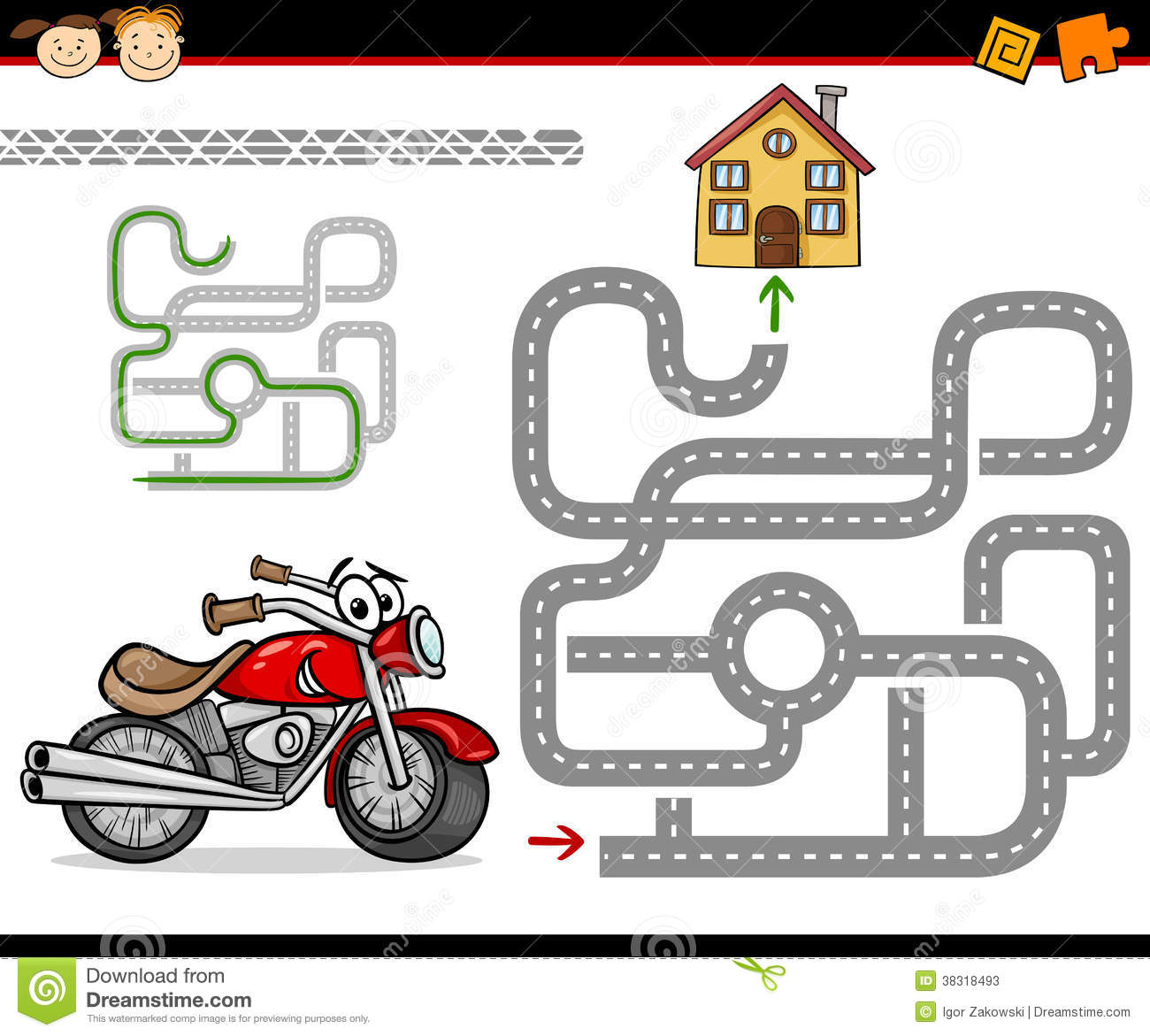 Free House Design Cartoon Maze Or Labyrinth Game Stock Vector Image 38318493
