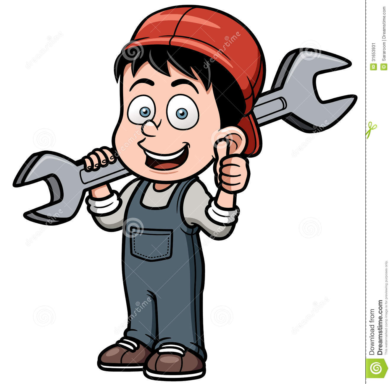 Cartoon Mechanic Holding A Huge Wrench Stock Image - Image: 31653931
