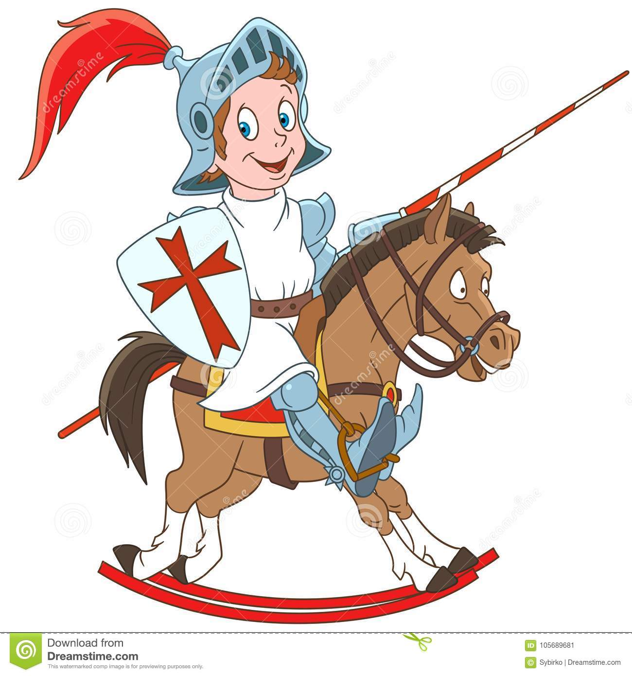 Cartoon Medieval Knight Riding A Horse Colorful Book Page Design For Kids And Children