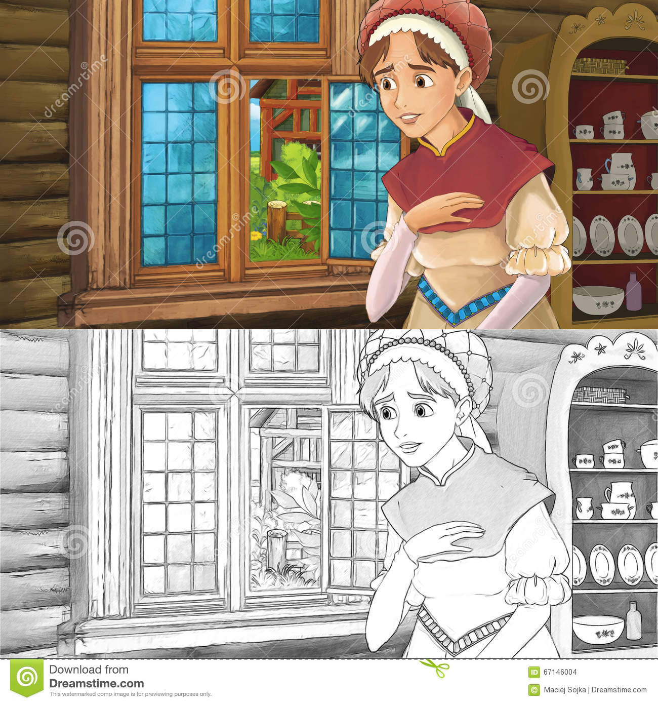 Cartoon Medieval Scene Of A Woman In The Kitchen - With Coloring ...