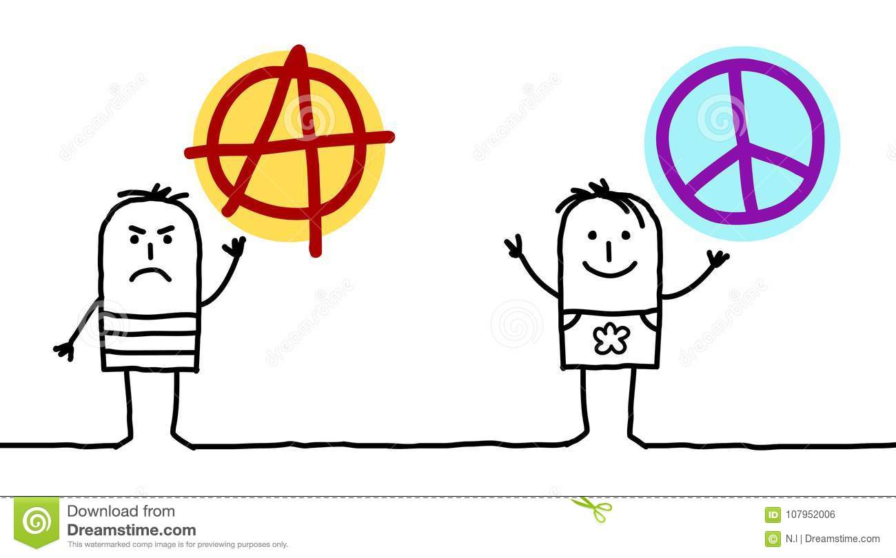 Cartoon men with anarchy and peace love signs stock vector cartoon men with anarchy and peace love signs buycottarizona