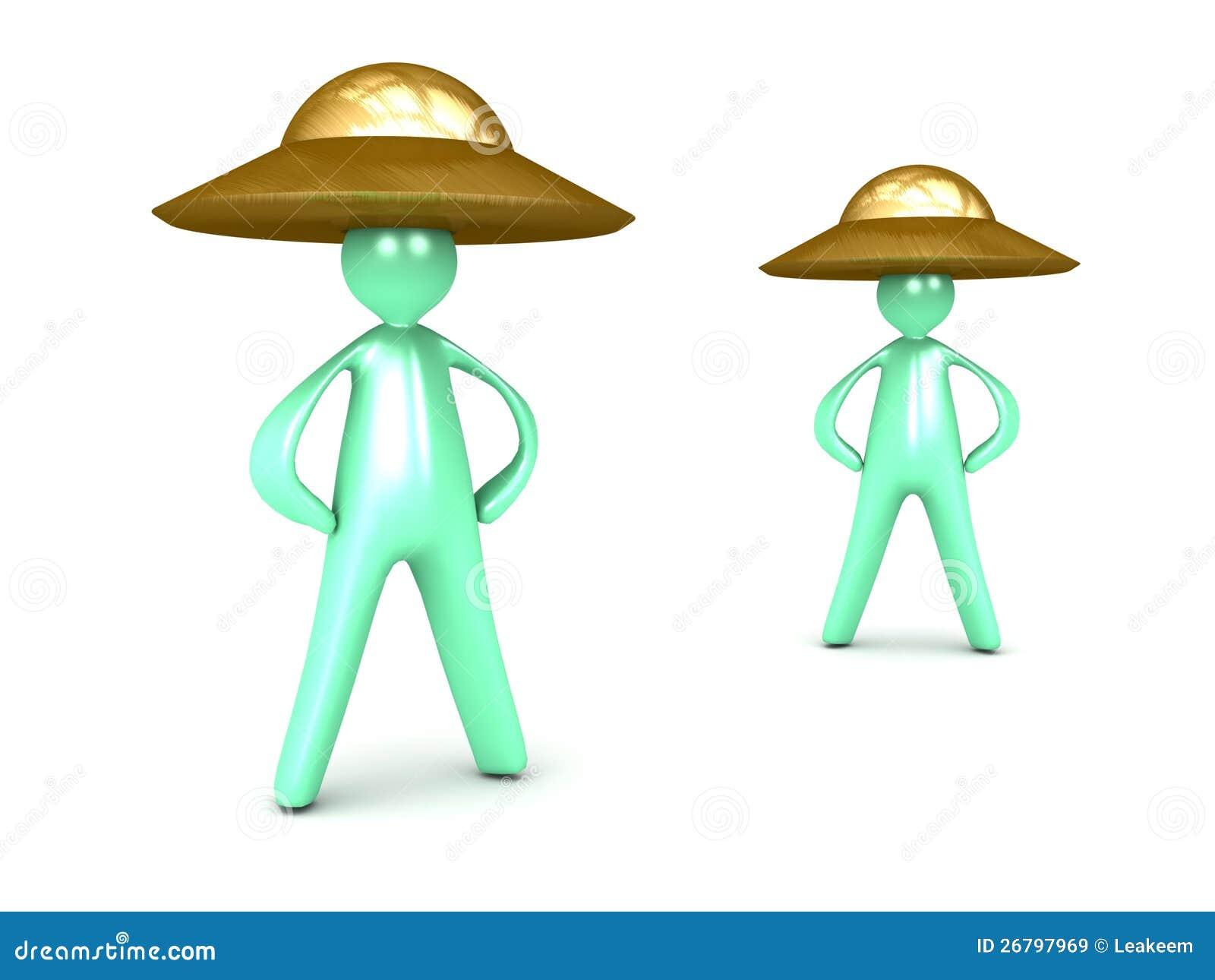 Cartoon Men Wearing Ufo Hats Costume Stock Illustration Illustration Of Halloween Head 26797969