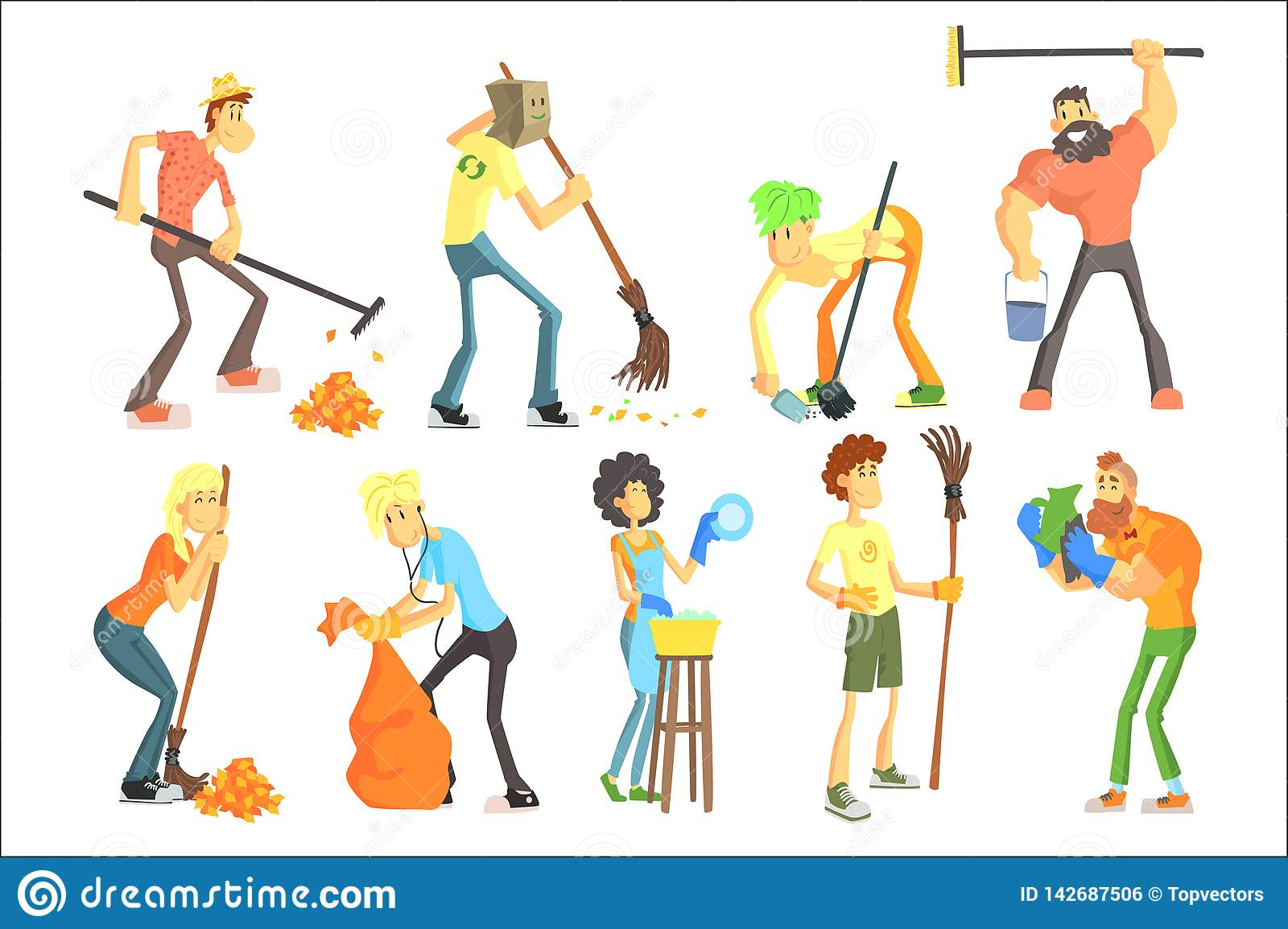 Cartoon Men And Women Cleaning In House And Outdoors  Funny