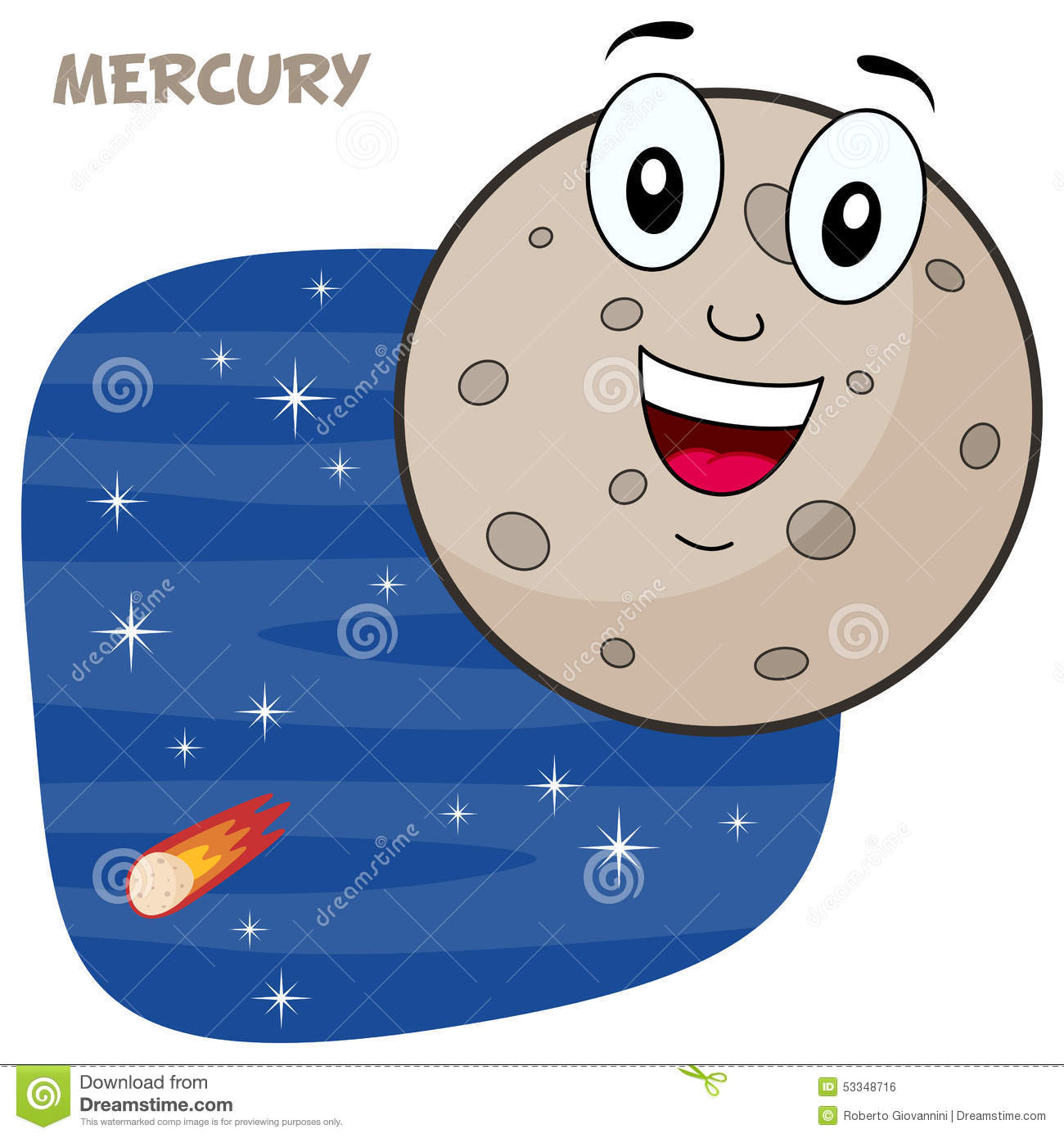 happy cartoon planet Mercury character smiling, on a blue outer space ...