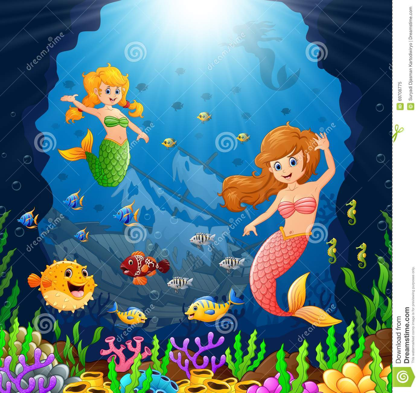 Stock Illustration Cartoon Mermaid Under Sea Illustration Image6970877...
