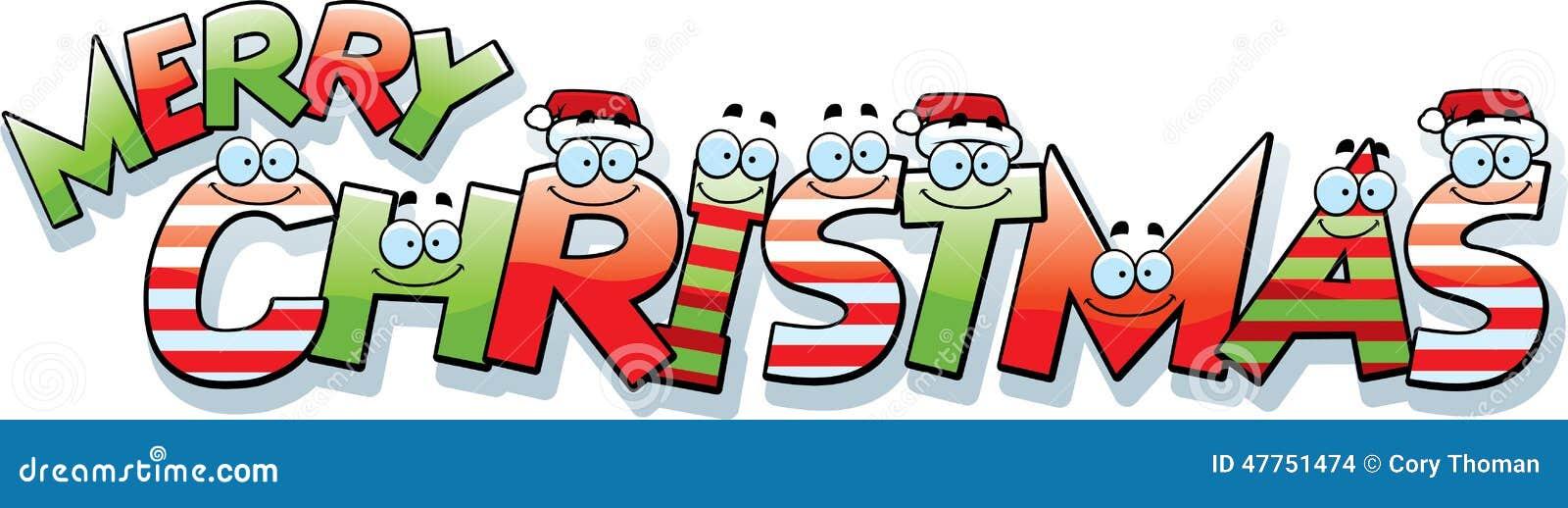 Cartoon Merry Christmas Text Stock Vector - Illustration of hats ...
