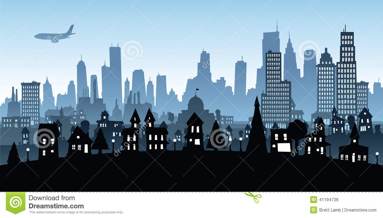 Cartoon view of a big city from residential to downtown.