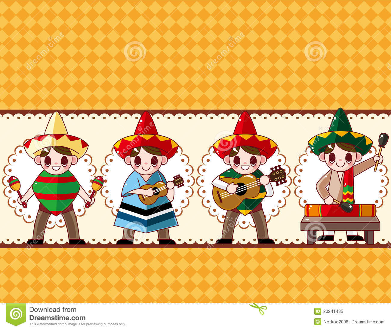 Cartoon Mexican Music Band Board Card Royalty Free Stock