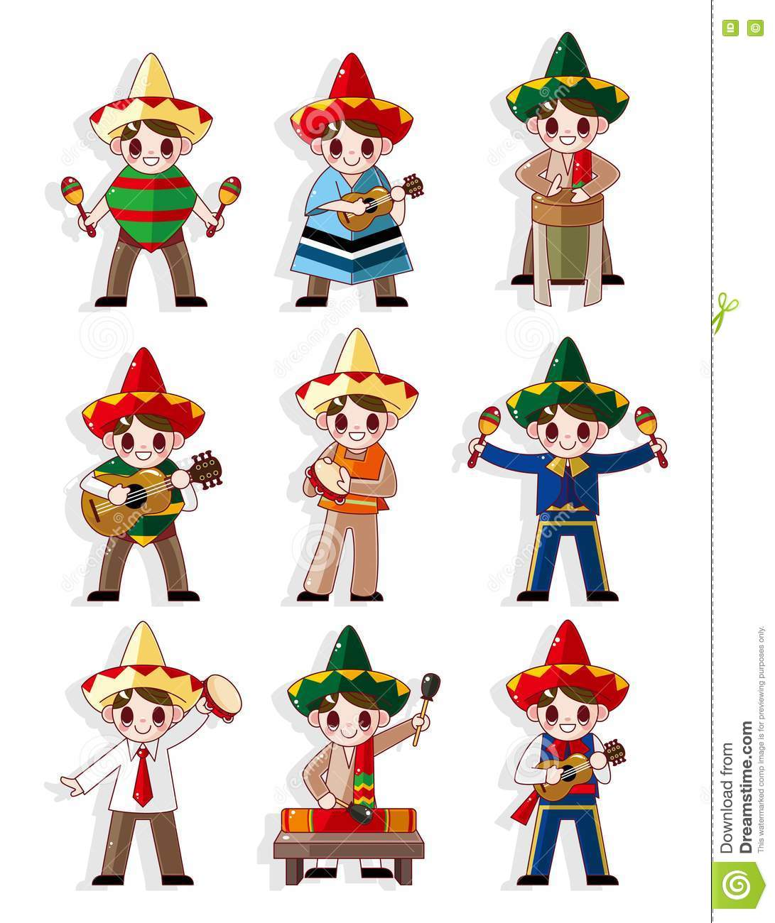 Cartoon Mexican Music Band Icon Set Royalty Free Stock ...