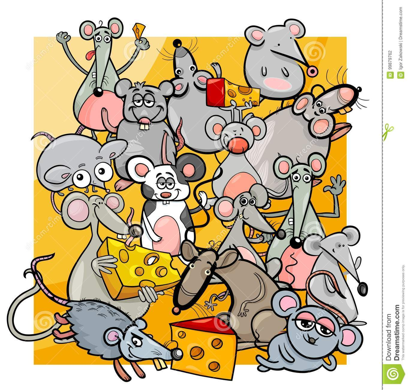 cartoon mice and rats with cheese stock vector illustration of