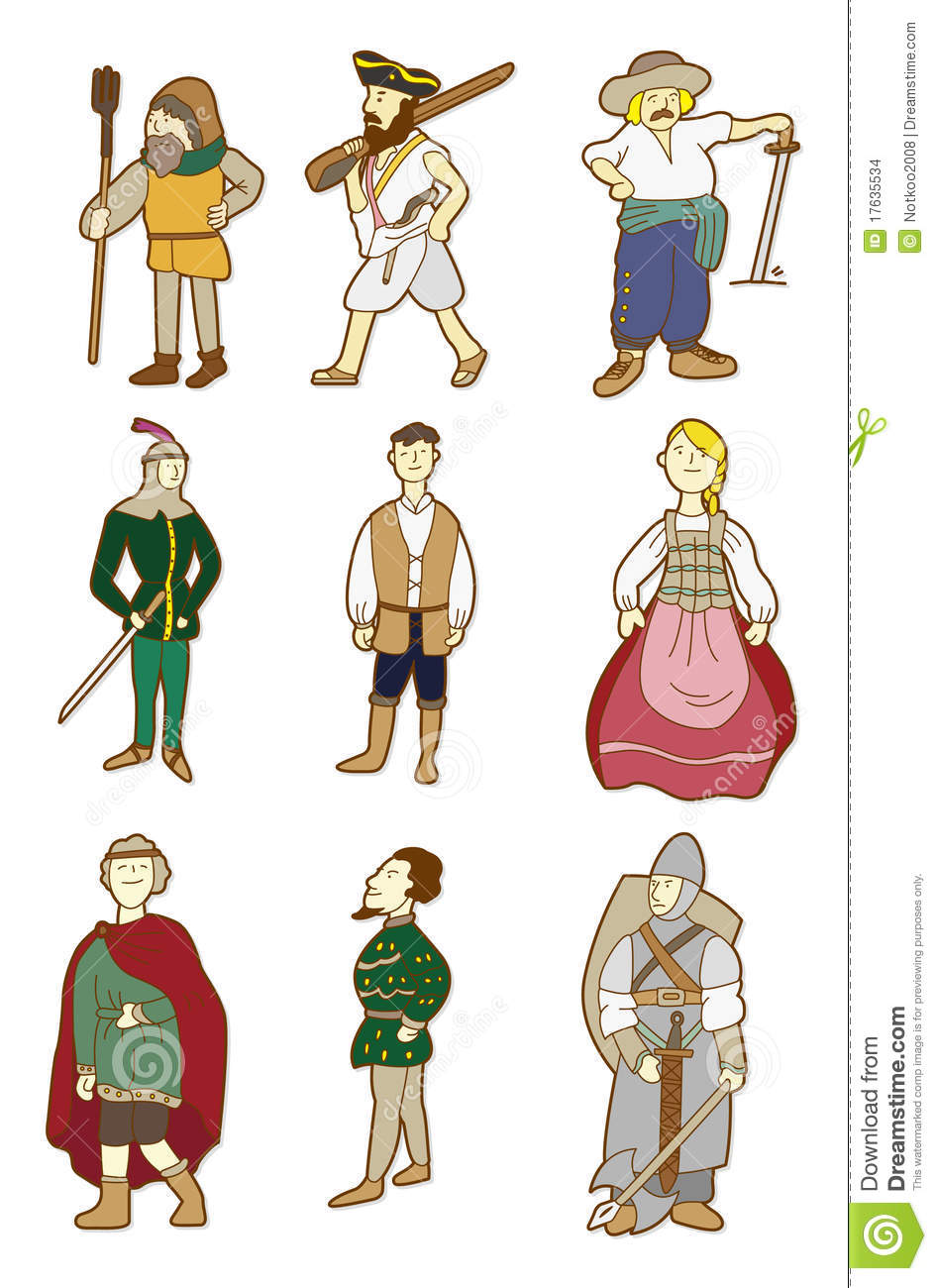 Cartoon Middle Ages People Stock Vector Illustration Of
