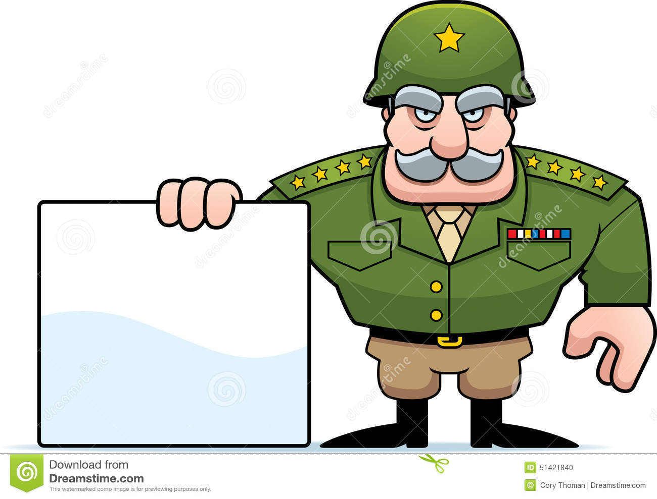 An Illustration Of A Cartoon Military General With Blank Sign