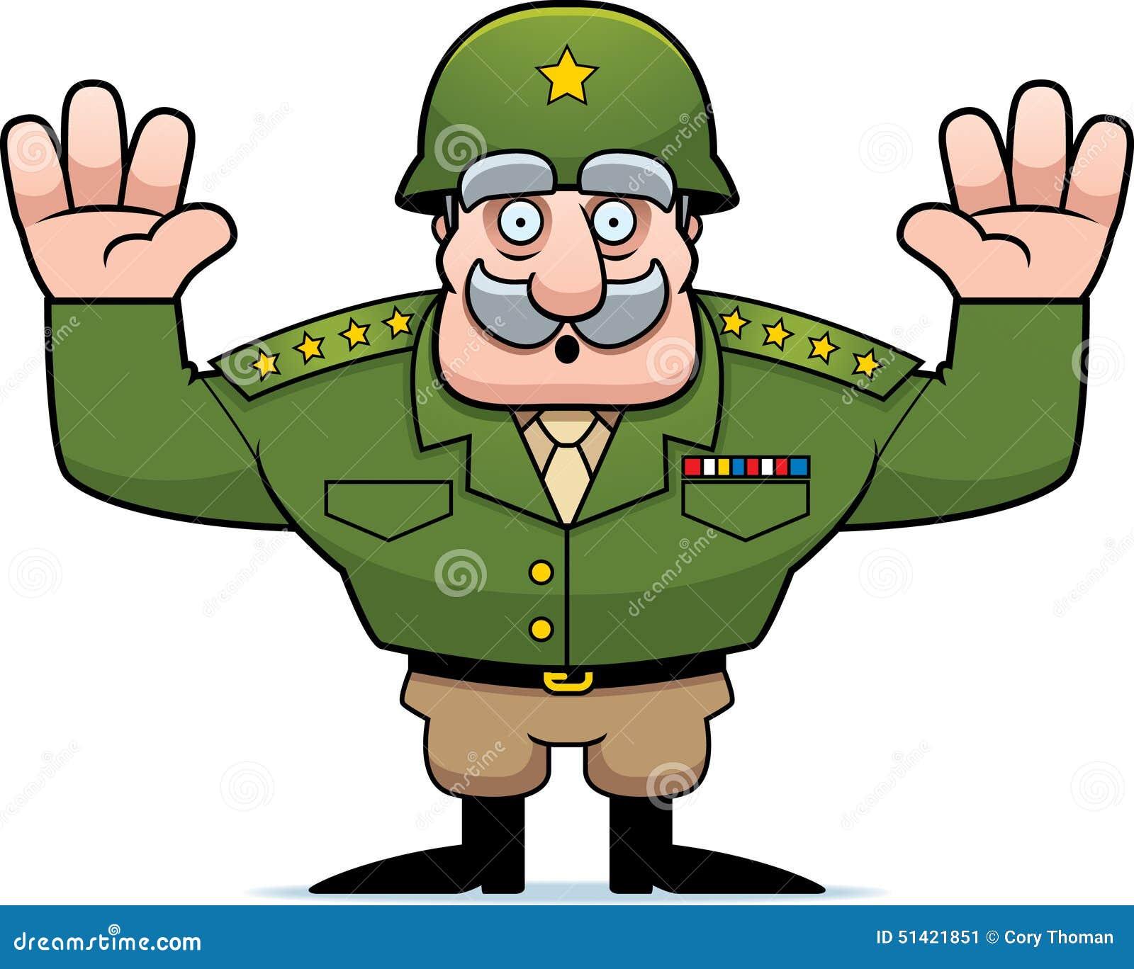cartoon military general surrender stock vector image