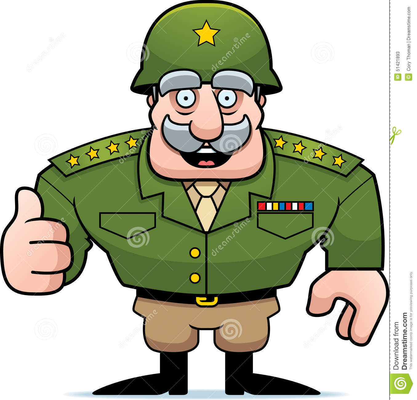 cartoon military general thumbs up stock vector image