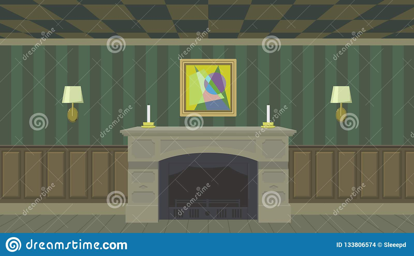 Modern Living Room With Fireplace Stock Illustration