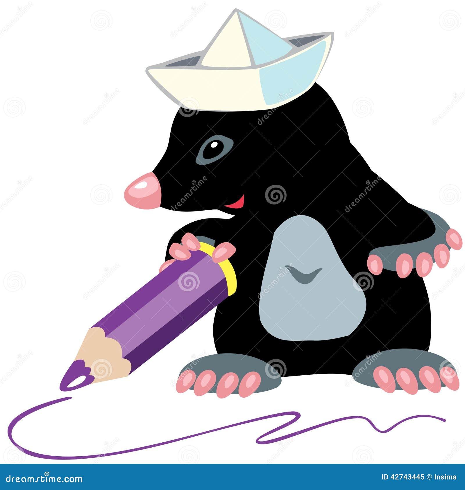 Cartoon mole artist stock vector image