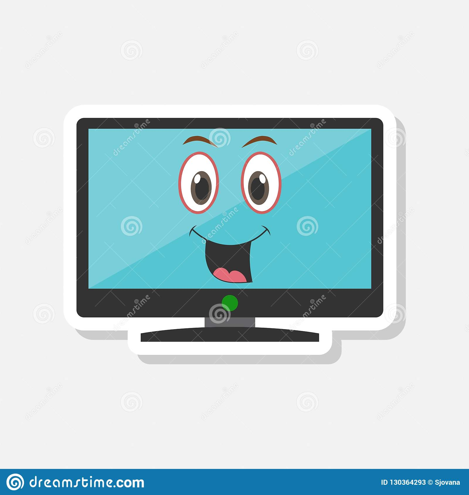 Cartoon Monitor Sticker With Smiley Face Stock Illustration