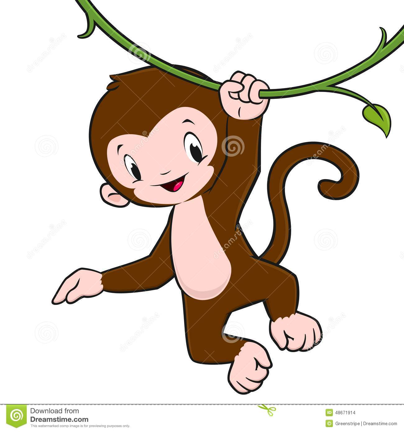 Cartoon baby monkey hanging from a vine for design element.