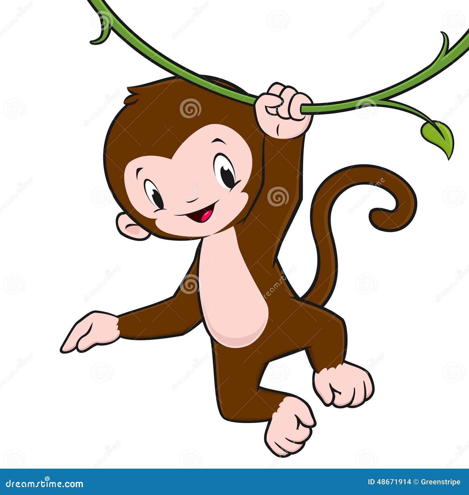 Climbing Vines Cartoon Monkey Stock Vector Image 48671914