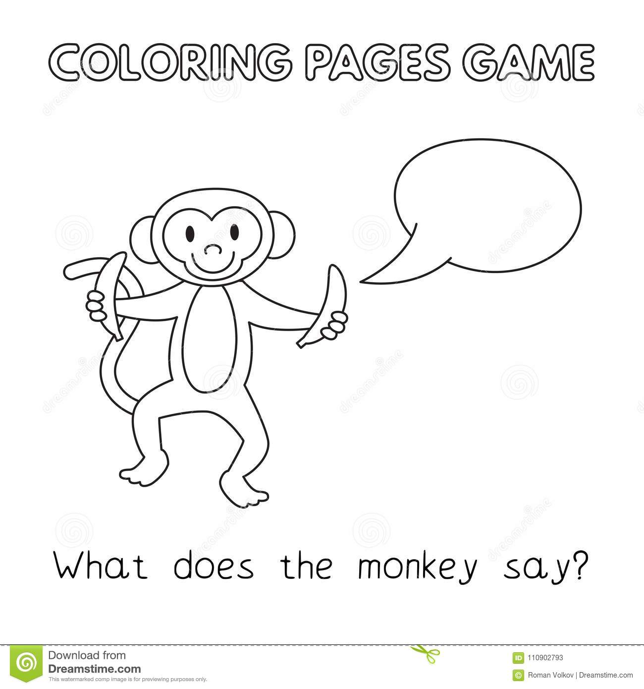 Cartoon Monkey Coloring Book Stock Vector - Illustration of lesson ...