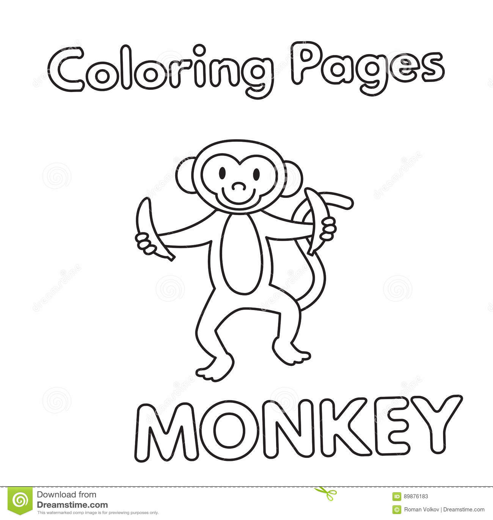 Cartoon Monkey Coloring Book Stock Vector - Illustration of jungle ...