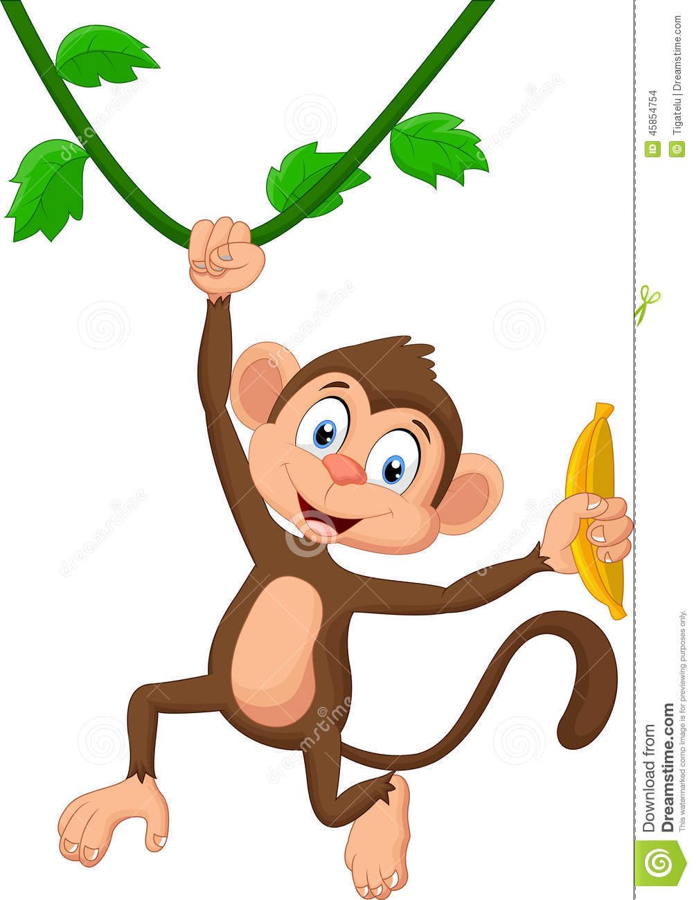 cartoon monkey hanging stock vector image 45854754 monkey hanging upside down clipart Three Monkeys Clip Art