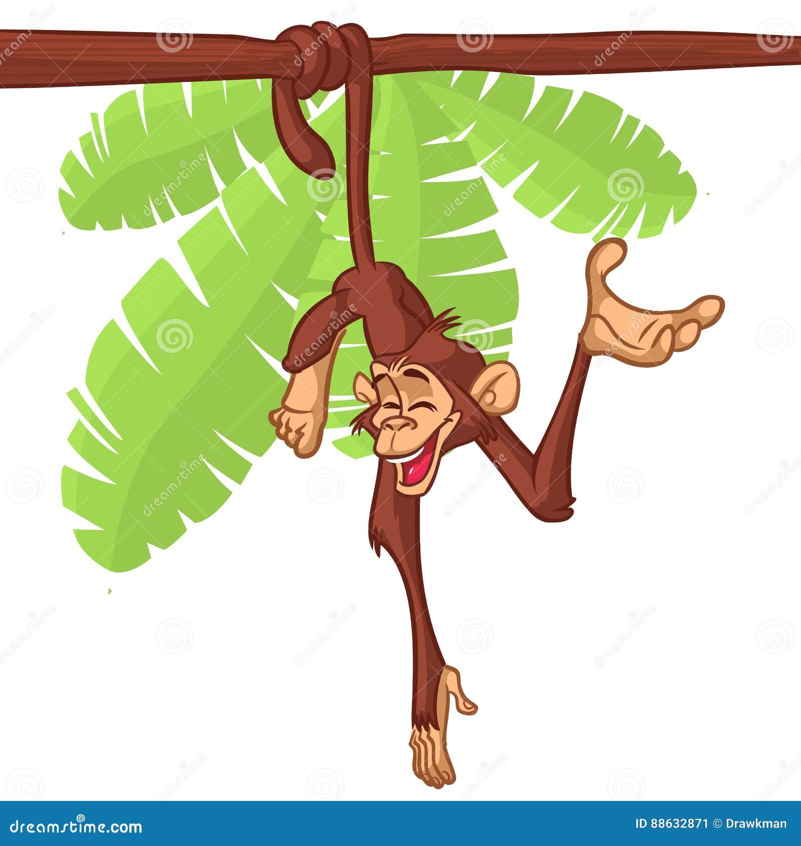 Brown Cute Monkey Hanging Tree Stock Illustrations – 332 Brown Cute ...