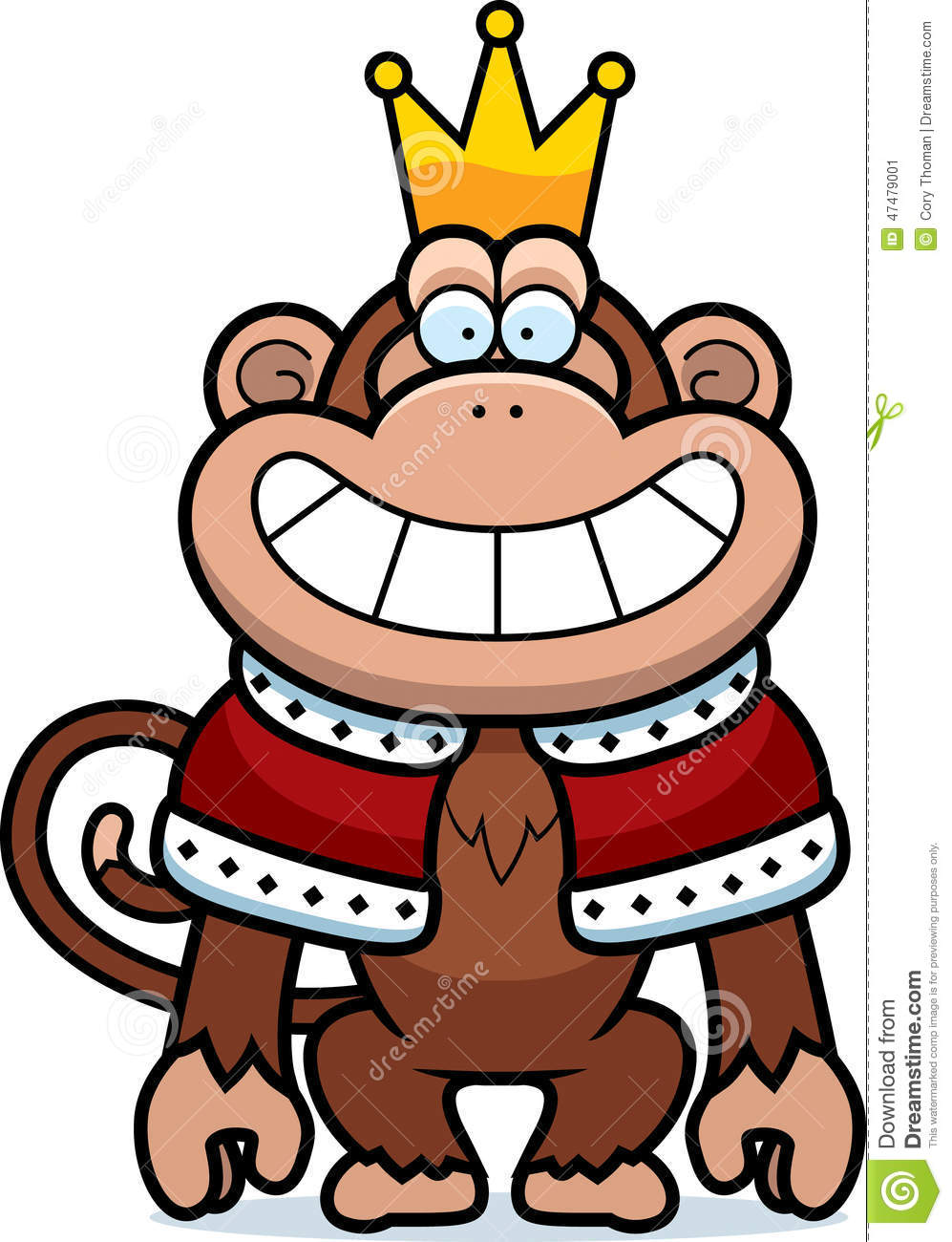 Clipart King Monkey Wearing A Crown And Robe - Royalty ... |Monkey King Crown