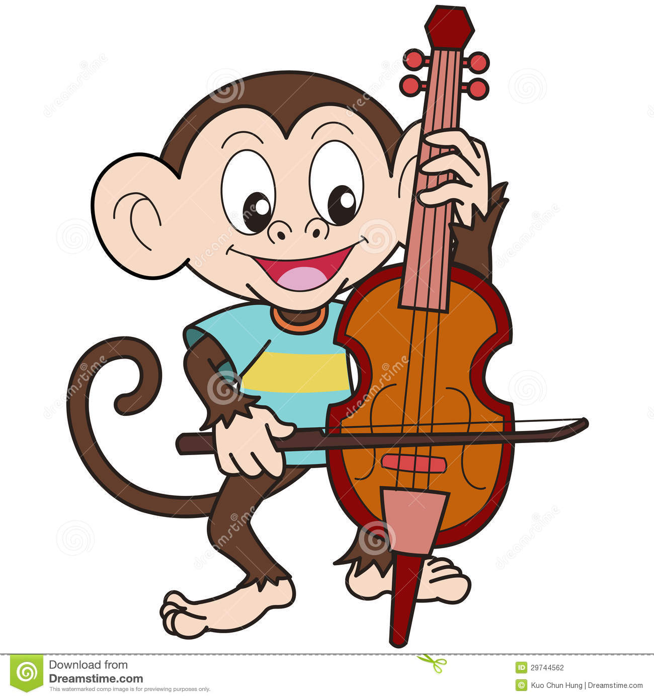 Cartoon Monkey Playing A Cello Stock Photography Image
