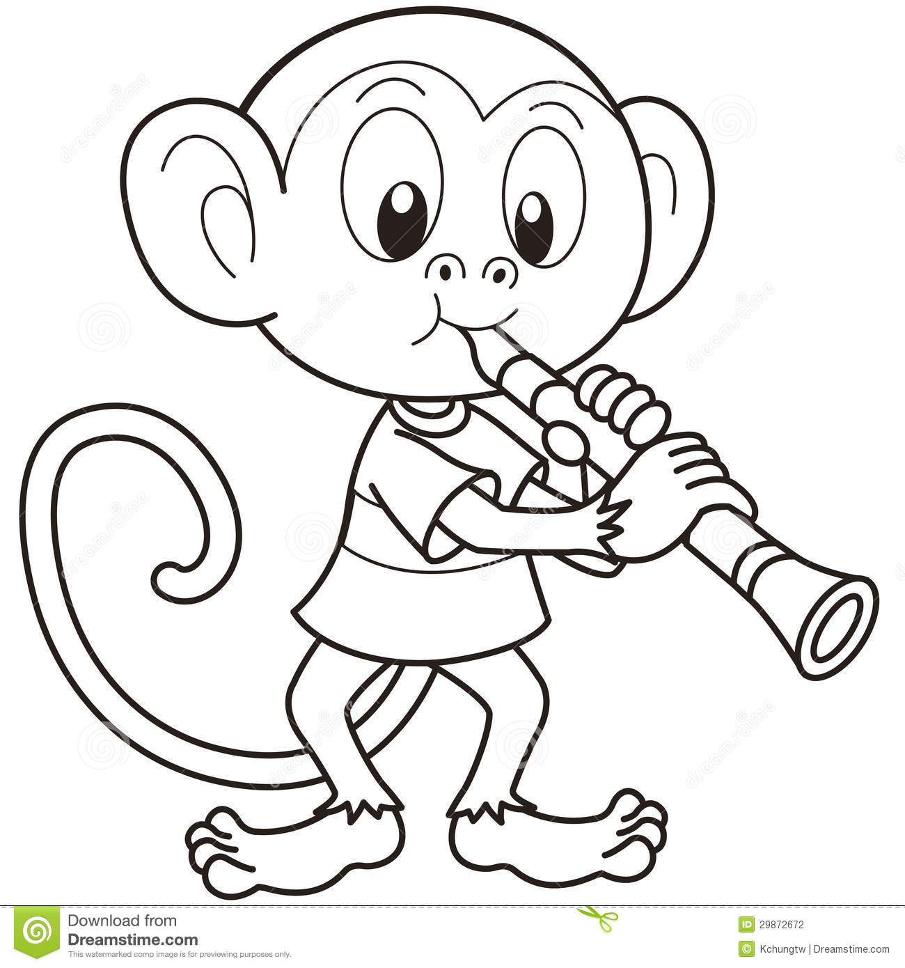 Cartoon monkey playing a clarinet black and white